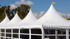 Pagode tenten geschakeld als 5 x 20 m